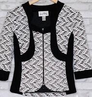 Joseph Ribkoff Women's Size 10 Full Zip 3/4 Sleeve White Black Jacket Top 3664