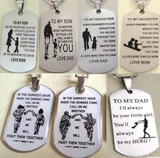 50pcs MIX Daugher Son Dad Brother GIFT FAVOR Stainless Steel Pendant With Chains