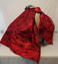 RED SPIDERWEBS  / INFANT / BABY CAR SEAT CANOPY / TENT /COVER - HANDMADE GOTH