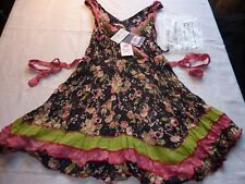 JOE BROWNS SIZE 12 COSTA RICA CRINKLE STRETCH  TUNIC TOP PRETTY NAVY FLORAL BNWT