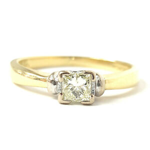 18ct Gold Princess Cut Diamond Solitaire Ring 0.25ct Size K 1/2 3.2g