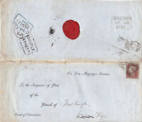 1850 QV COVER WITH A 4 MARGIN 1d RED STAMP NEWBURGH CUPAR FIFE CASTLE STREET