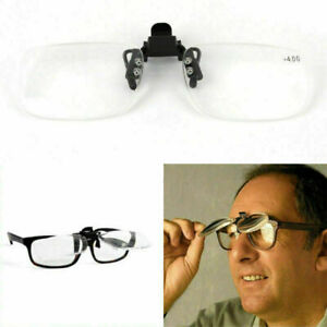 Clip-on Rimless Reading Glasses Rimmed Flip-up Readers Magnify Fishing +1.0~3.0