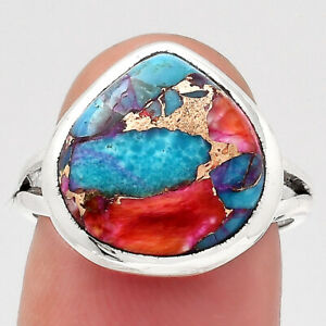 Kingman Orange Dahlia Turquoise 925 Sterling Silver Ring s.7 Jewelry 5008