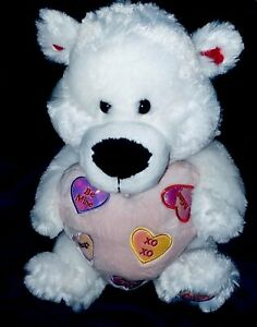 """White Plush Fluffy Valentines's Day Teddy Bear holding a Pink Heart 16"""""""