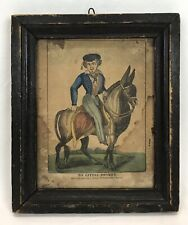 New ListingAntique Late 18th Early 19th C Colored Engraving My Little Donkey Original Frame
