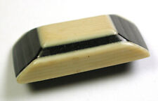 "Lg Sz Antique Celluloid Button Black & White Pyramid Design - 1 & 3/16"""