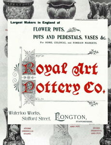 c.1900 VINTAGE Royal Art Pottery Longton jardiniere & vase catalogue / flyer