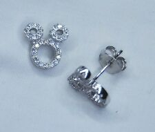 New !! Silver 925 Mickey Like Diamante Earrings with Gift Box
