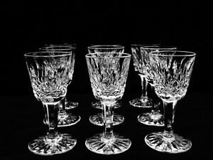 """9 BRILLIANT WATERFORD CRYSTAL """"LISMORE"""" CORDIAL GLASSES ~ REPUBLIC OF IRELAND"""