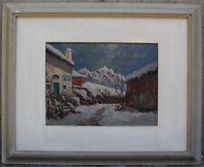 ANTICO QUADRO Benedetto Ghivarello 1929 PAESAGGIO BORGO MONTANO TORINESE NEVE