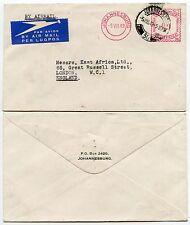 Afrique du sud machine à affranchir airmail 1949 imprimé rabat enveloppe 9d timbres + pcm