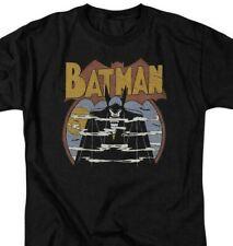 Batman T-shirt 70s comic book art retro 80s cartoon DC black graphic tee DCO645