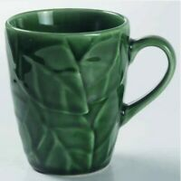 Set of 6 ~ Pier 1 One Jade Leaves MUG 4 1/8 inch Stoneware Embossed Green Leaf