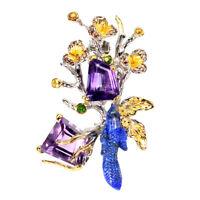 Handmade Fancy Amethyst 13.36ct Lapis Lazuli Bird Gem 925 Sterling Silver Brooch