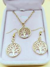 1 set of Women Beautiful Retro Golden Tree of Life earrings necklace  Handmade #