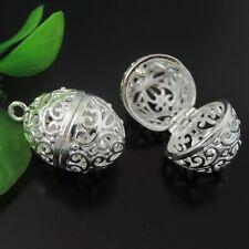 2pcs/lot Silver Tone Brass Hollow Oval Ball Shaped Pendant Lockets Charms 39597