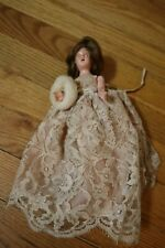 Vintage - Antique - Hard Plastic Doll - Wedding Bride 8In - Brunette - 1950s