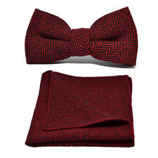 Cranberry Red & Black Herringbone Bow Tie & Pocket Square / Handkerchief Set