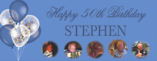 Personalised Birthday Party Banner 18th/21st/30th/40th/50th/60th Blue Balloons