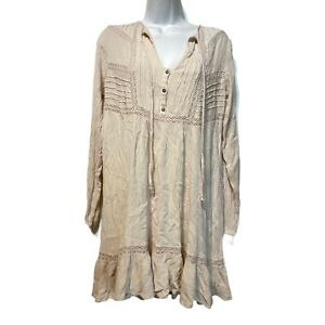 free people Women's Size S ivory gauze long sleeve tunic Prairie Dress