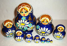 """Beautiful Russian Nesting Doll~10pc~5""""~GORGEOUS~DAISIES ON A DARK BLUE"""
