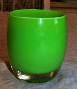 "Glassybaby ""LUCKY"" Irish Green Hand Blown Glass Votive Candle Holder"