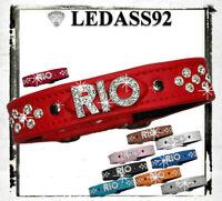 """LEDASS92 Hund Hundehalsband Halsband Name Modell: """"RIO"""" Strass Buchstaben Neu"""