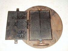 ancien fer gaufrier Moule à Escalettes? ou à gaufrettes avec son socle 6 décors