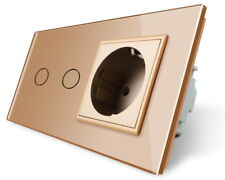 Livolo Glas Rolladenschalter / Steckdose VL-C702W-13/VL-C7C1EU-13 Gold