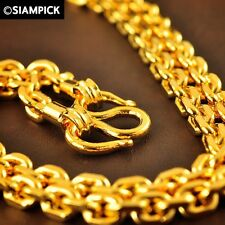 """24"""" 24K Thai Jewelry Gold Plated Anchor Chain Necklace Men Handmade Accessory"""