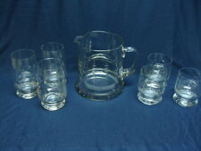 Vtg Susquehanna Glass Clipper Ship Carafe Pitcher With Tumblers & Rock Glasses