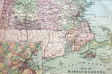 Antique Map of MASSACHUSETTS 1883 Matted - Close Up of BOSTON - Exc. Condition