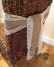 10 X Hessian And Lace Chair Sashes
