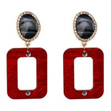 Fashion Ear Jewelry Statement Earrings Special Design Rectangle Drop Dangle Red