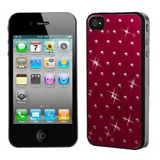 For iPhone 4s/4 Red Studded Back Plate Protector Cover Case  (Black Sides)