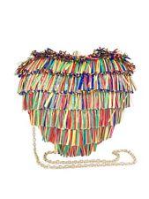Betsey Johnson Hearts Don't Lie Clutch Multicolor Raffia Fringe Xbody NWT ($88)