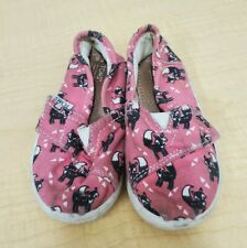 Girls Tiny TOMS Size T6 pink w foxes Canvas Toddler Shoes