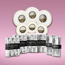 420 Piece Disposable Dinner Set With Gold Rims For 60 People