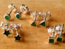 STERLING SILVER SMALL GREEN ONYX STUD EARRINGS IN 4 DESIGNS  £6.50 a pair  NWT