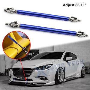 "For Mazda 3 Adjustable 8""-11"" Blue Front Bumper Diffuser Sport Splitter Bars Tie"