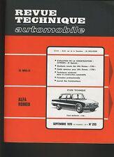 (30A) REVUE TECHNIQUE AUTOMOBILE ALFA ROMEO 1750 / CITROEN D Spécial