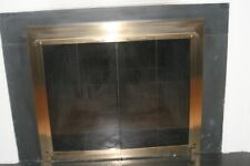 Brass and Glass Fireplace Doors and Screen 38 inches by 33 inches