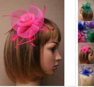 FASCINATOR FLOWER NET & FEATHER 3 CRYSTALS CENTRE COMB WEDDING PROM CHRISTENING