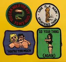 4 Lot Vintage Adult Hippie Patches Dirty Funny Sexual Boobs Inappropriate  543T