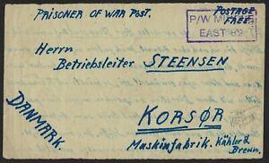 EGYPT TO DENMARK 1945 PRISONER OF WAR POST PW MIDDLE EAST MARKING IN VIOLET TO K