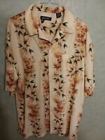 Large Hawaiian Yellow Shirt Aloha Puritan Black Men's Floral print L (42/44)