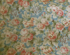 Antique Cottage Roses Violets Cotton Fabric ~ Rose Pink Chambray Blue