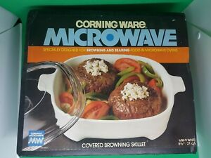 Corning Ware Microwave Covered Browning Skillet MW-9 Dish 21cm. Unused & Boxed