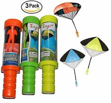Toy Skydiver Parachute Men 3 Piece Set- Tangle Free With Launcher Containers!